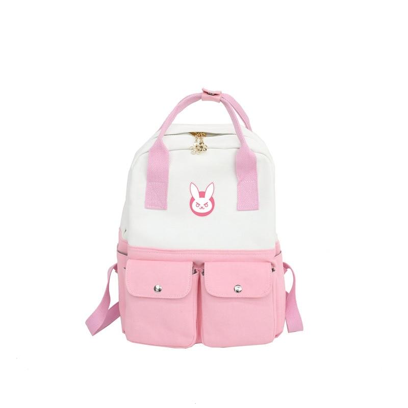 Game OW Anime Backpack Cosplay DVA Rabbit Canvas Backpacks School Bags Laptop Shoulder Travel Bags Teenagers Rucksack