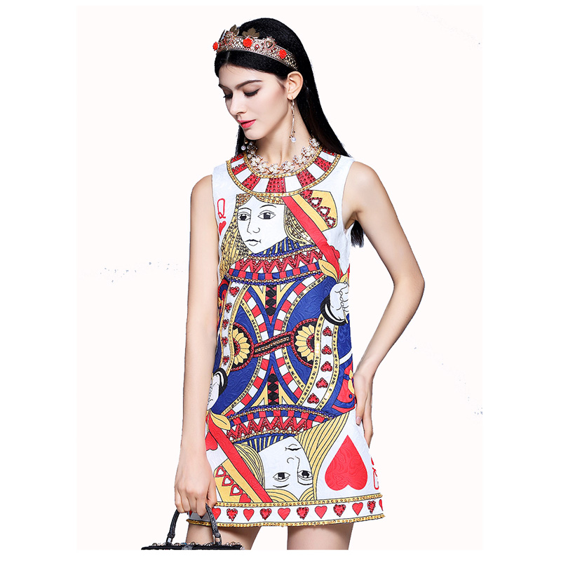 High end 2018 New Sequined Beaded Poker Printed Vest Dress 171208LU01