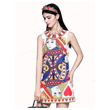 High-end 2018 New Sequined Beaded Poker Printed Vest Dress  171208LU01