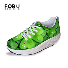 FORUDESIGNS Women Stylish Slimming Swing Shoes Green Plants Printed Platform Shoes For Ladies Casual Shoes Shape Ups Size 35-41