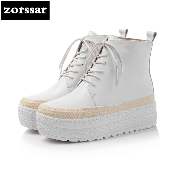 {Zorssar} 2018 New arrival fashion High heel Boots ankle Women snow boots Genuine Leather platform boots women shoes Winter zorssar 2018 new fashion women shoes round toe thick heel ankle snow boots patent leather high heels womens boots winter
