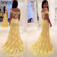 Yellow Lace Appliques Mermaid Evening Dresses Sexy Off the Shoulder Sleeveless Formal Party Gowns Plus Size