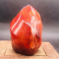 460g Natural Crystal red agate Raw Gemstone Ornament Polished Quartz Onyx Handicraft Decorating Stone Healing freee shipping