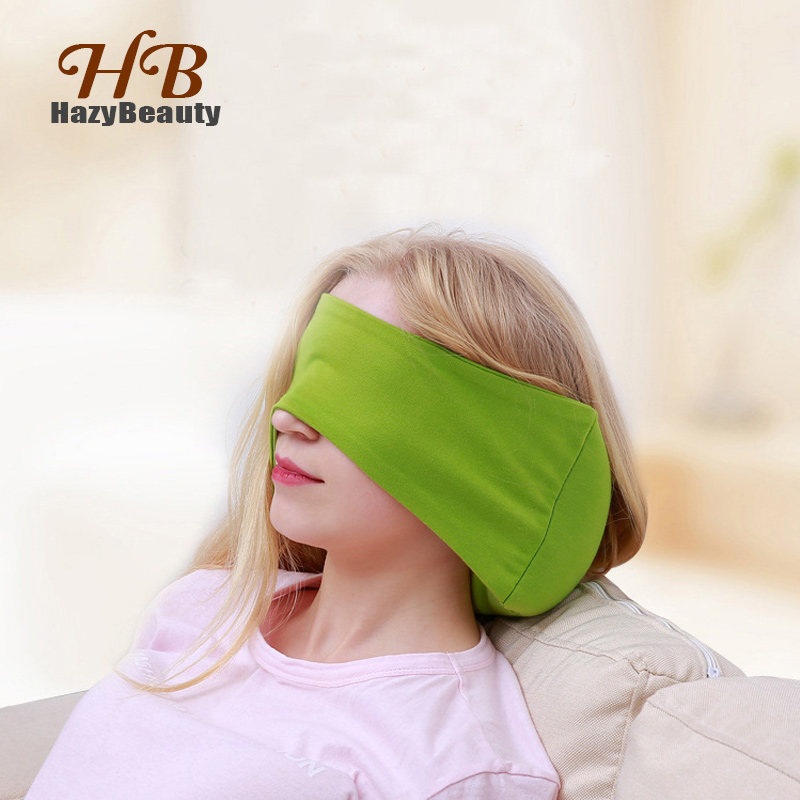 HazyBeauty Neck Pillows+Eye Mask 2 in 1 Nap Eye Mask Foam Particles Neck Pillow for Travel 3 Colors Airplane Pillow image