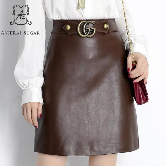 Autumn winter sheepskin Genuine leather skirts women brown High waist Metal buckle OL Package hip sheepskin female short skirts