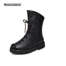 2017 mujeres de La Manera de cuero botas de invierno Casual Mocasines Hechos A Mano de Las Mujeres Botas Planas Zapatos calientes de la felpa Botas de Plataforma para las mujeres