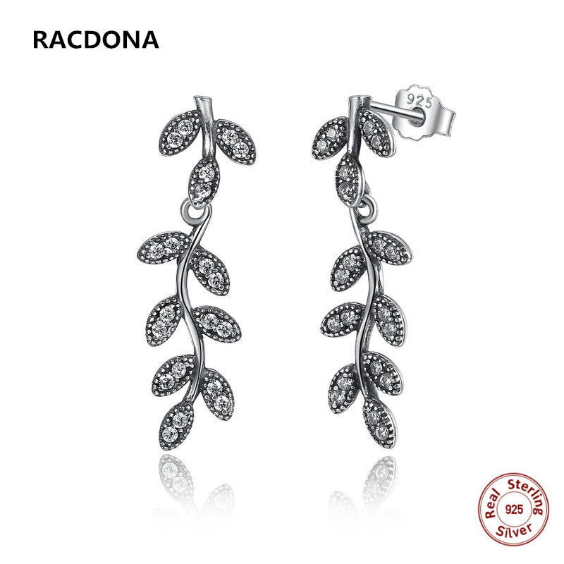 925 Sterling Silver Sparkling Leaves & Branches Stud Earrings Clear CZ Women for Women Compatible with pan jewelery
