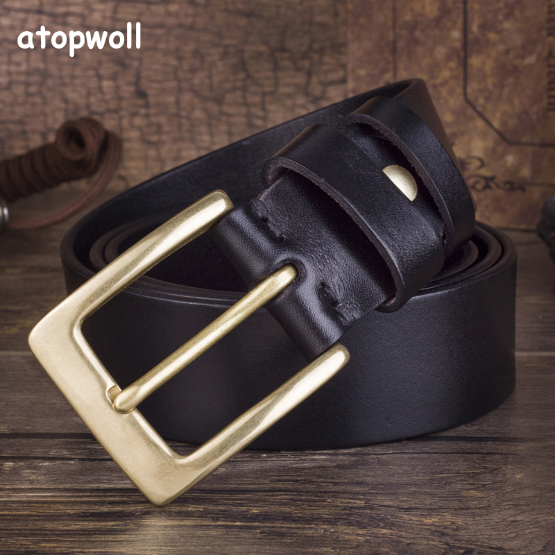 High quality 100 Genuine leather belts for men Copper Pin buckle First Layer CowSkin belt for man jeans Luxury waistband male in Men 39 s Belts from Apparel Accessories