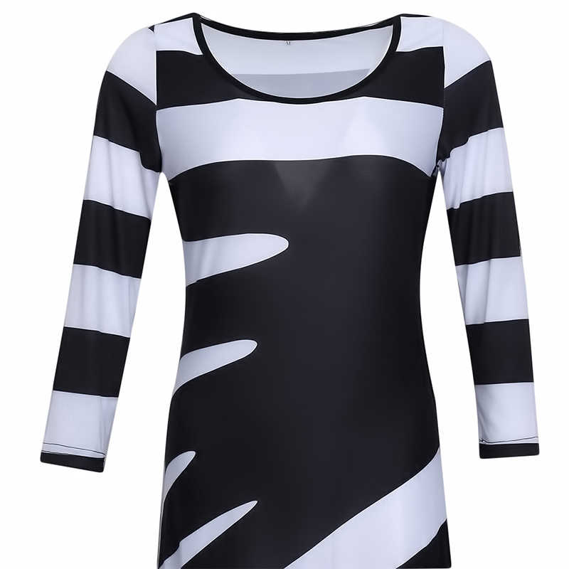 Women 2019 Spring Autumn Long Dress Elegant O-Neck A-Line Ankle-Length Dress 3/4 Sleeved Black White Striped Party Dresses