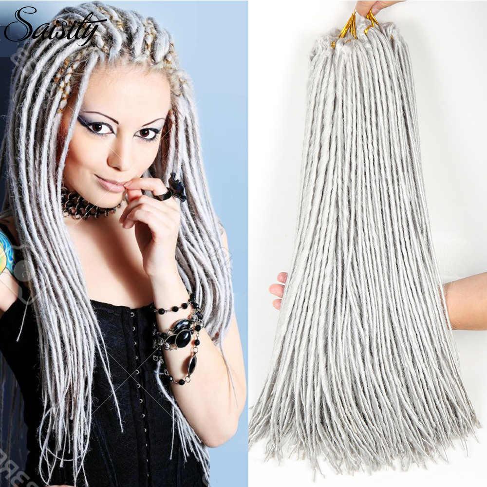 Saisity dreadlocs extensiones de cabello de ganchillo extensiones de cabello sintético pelo faux locs crochet trenzas color blanco y negro 24 raíces/paquete afro jumbo