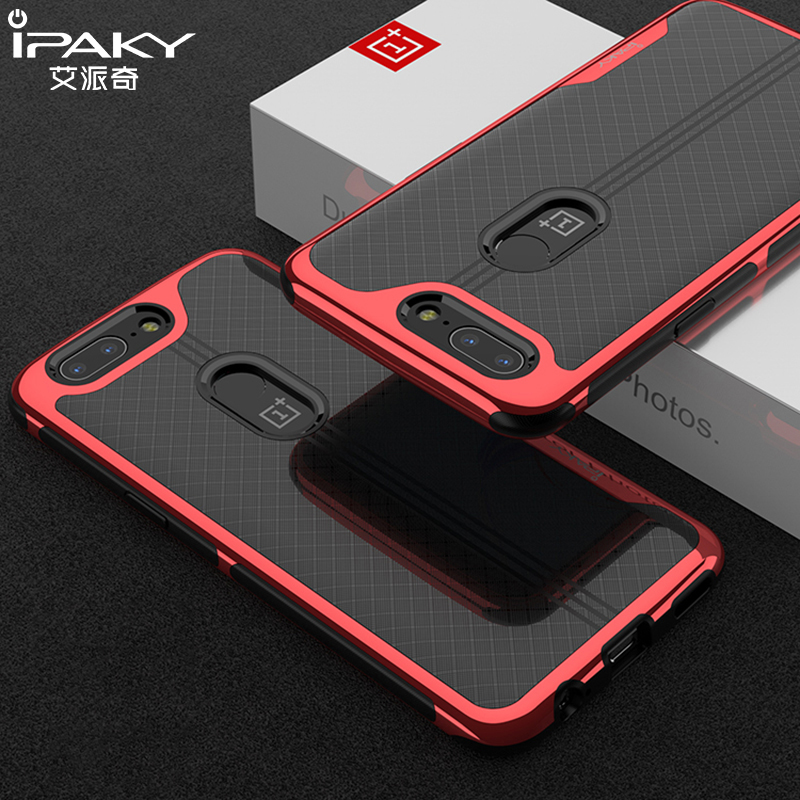 iPaky Brand For Oneplus 5T Case Luxury Plating PC Frame Transparent Clear Soft Back Cover For One plus 5T 2017 Phone Cases