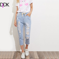 DIDK Mid Waist Denim Ripped Jeans For Women Bleach Wash Crop Distressed Jeans Summer Blue Drawstring
