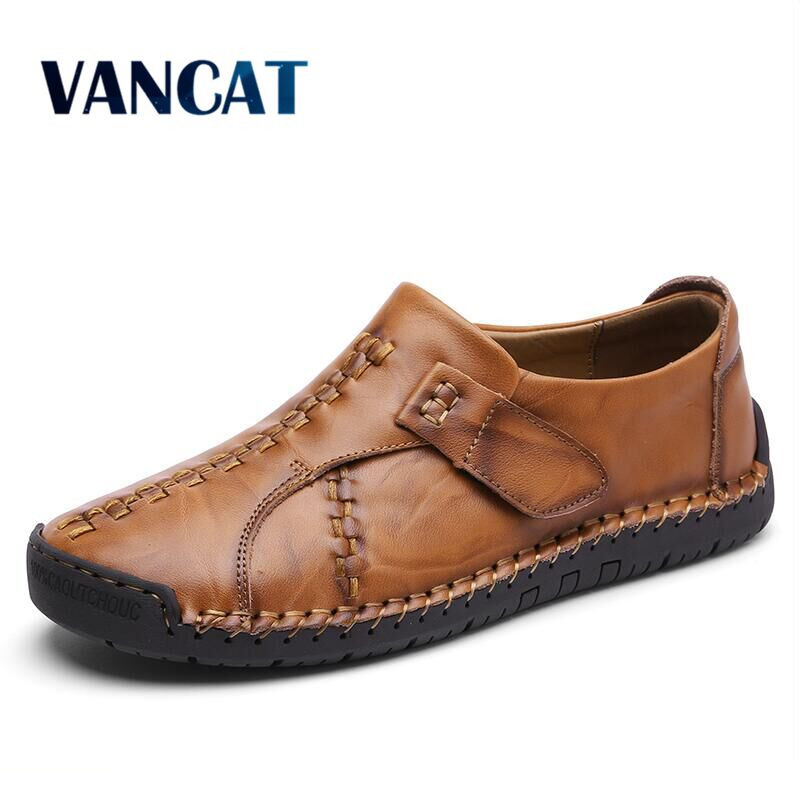 VANCAT 2018 New Handmade Comfortable Casual Shoes Loafers Men Shoes Quality Split Leather Men Flats Shoes Moccasins Shoes dxkzmcm genuine leather men loafers comfortable men casual shoes high quality handmade fashion men shoes