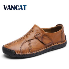 VANCAT 2018 New Handmade Comfortable Casual Shoes Loafers Men Shoes Quality Split Leather Men Flats Shoes Moccasins Shoes