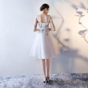 Image 2 - 빠른 배송 저렴한 여성 아이보리 짧은 댄스 파티 드레스 2020 섹시한 블랙 댄스 파티 드레스 특종 얇은 명주 그물 자수 레이스 저녁 파티 가운