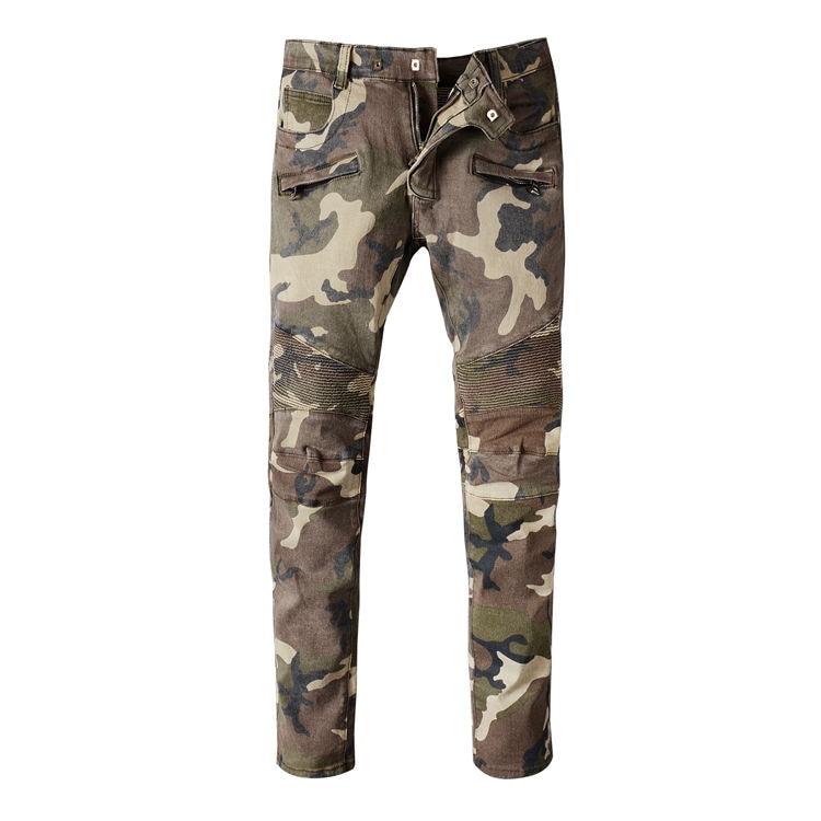 ФОТО Plus Size 28-38 Slim Men Camouflage Jeans Casual Long Pants Male Singer Skinny Trousers Costume Nightclub Men's Fashion Jeans