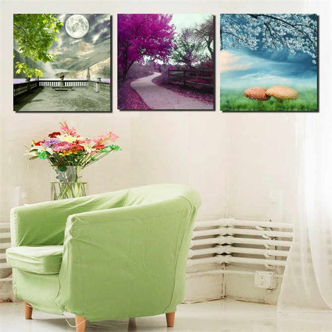 2014 New 3 piece Wall Art tree scenery Oil Painting On Canvas print No Frames Paintings Pictures Decor