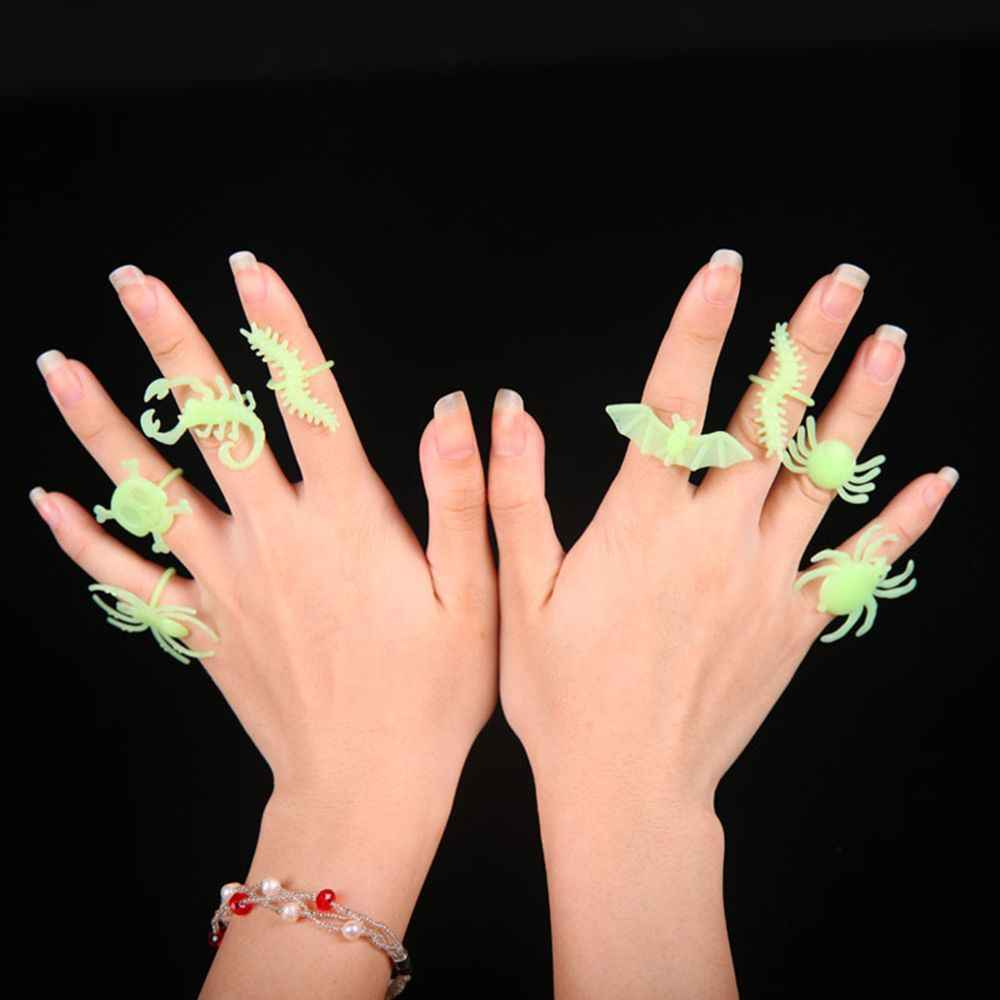 14 pcs החדש בעלי החיים עיצוב מגניב ליל כל הקדושים מסיבת ריקודי אביזרים באיכות גבוהה צעצועי זוהר חרקים טבעת זוהר בחושך צעצוע