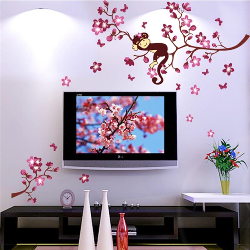 Modern Life Home Decoration Vinyls Wall Stickers Decorative Monkey Sleeping On Peach Tree Flowers Beautiful Art