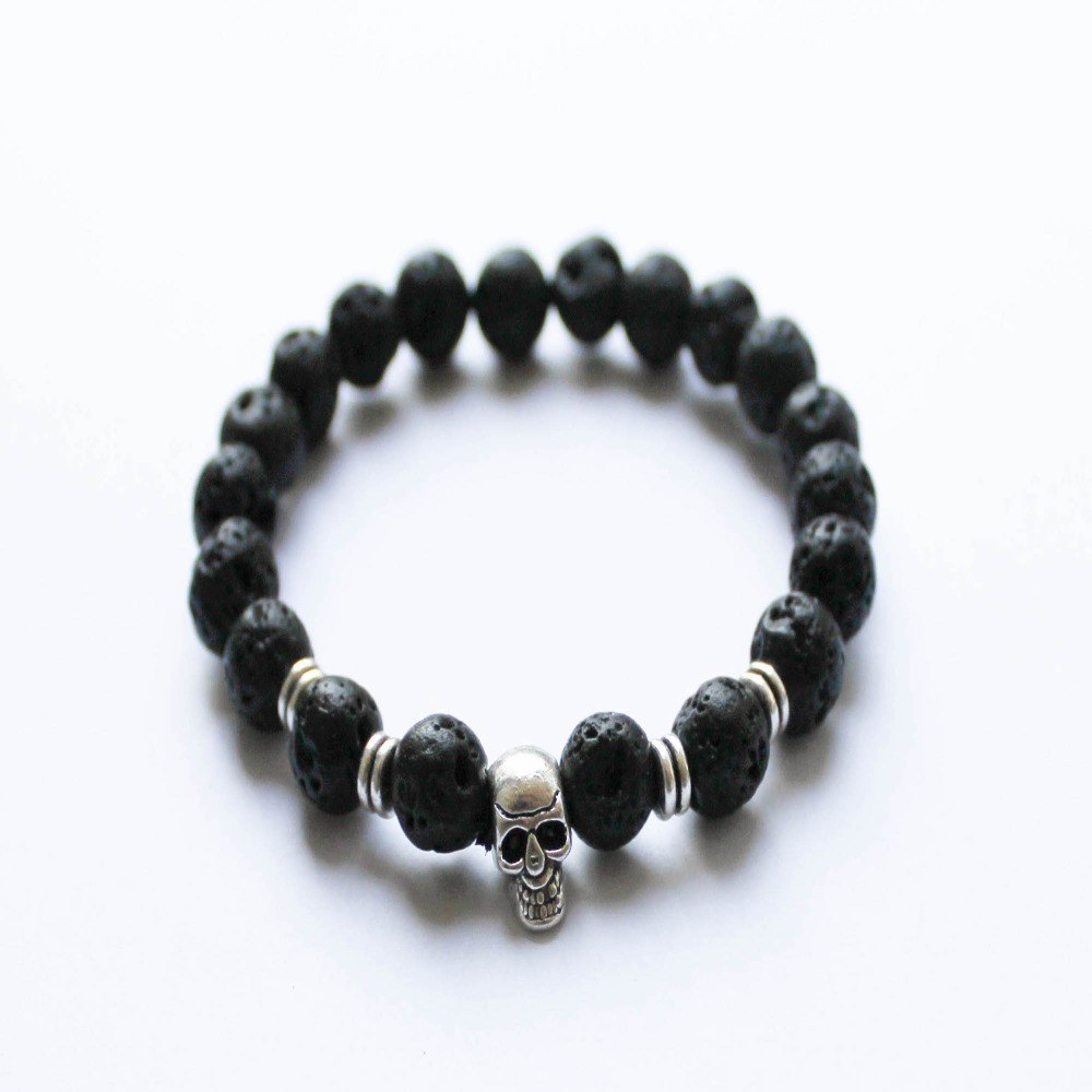 Ymorl Black Beads Bracelets Skull Bracelets For Men Women's