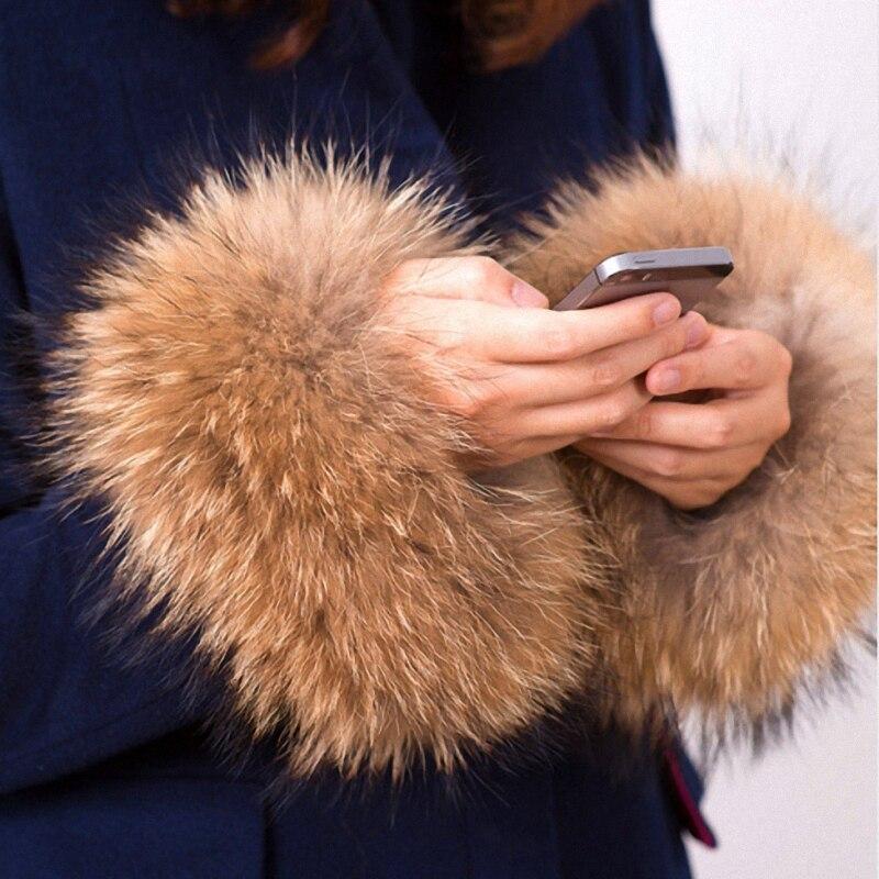 1 Pair Nature Genuine Raccoon Fur Arm Warmers Sleeve Decor Winter Pompom Fluffy Cute Cuffs Women Cute Accessories TKG001-30X16cm