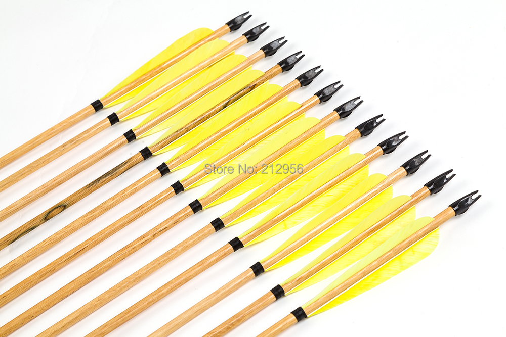 ФОТО Longbowmaker One Dozen Yellow Turkey Feathers Cedar Wood Target Practice Arrows W3YT2