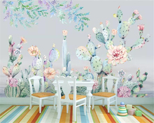 beibehang Custom wallpaper living room bedroom Fashion hand drawn tropical plant cactus flower TV background wall 3d