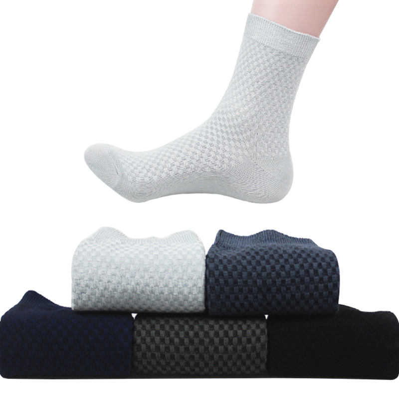 5 Pairs Socks Fashion Solid Color Business Bamboo Fiber Short Socks Spring Autumn Breathable Durable Male Sock Trendy Meias Crew