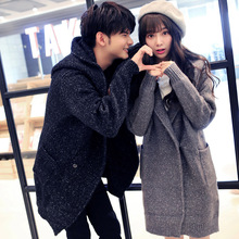 Men Women Long Sweater Coat Winter His-and-her Clothing Couple Knitted Cardigan Down Coat Fashion Korean Warm Windbreaker Jacket