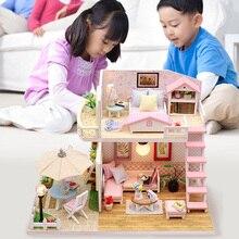 Игрушки для детей Миниатюрная игрушка-головоломка Diy Кукольный дом модель деревянная мебель игрушки на день рождения Рождественские подарки розовый Лофт вилла M033