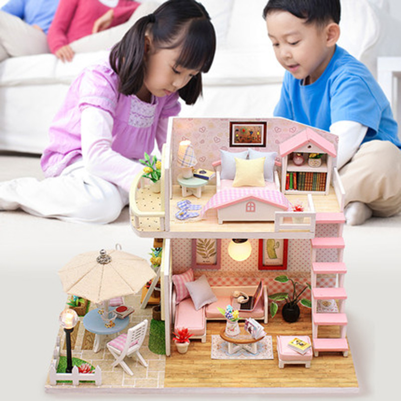 Toys For Children Diy Doll House Casa Miniature Dollhouse With Furniture Dollhouses Toy Birthday Gifts PINK LOFT VILLA M033