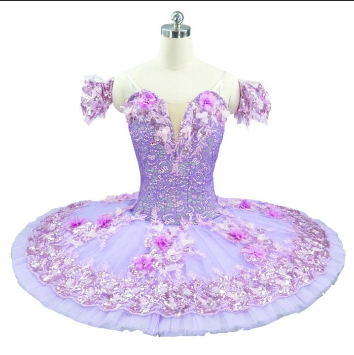 Purple Ballet Tutu Women Flower Fairy Princess Ballet costumes Ballerina Pancake platter tutus Pink professional ballet dress