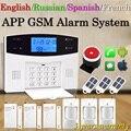 Inglês/Russo/Espanhol/Francês/Português Sistema de Alarme PSTN GSM Guia Menu Prompt de Voz Apoio APP e relé de Controle