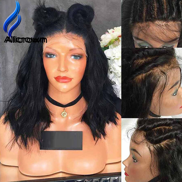 Alicrown Lace Front Human Hair Wigs Full Lace Human Hair Wigs With Baby Hair Short Human Hair Wigs Bleached Knots Full Lace Wigs