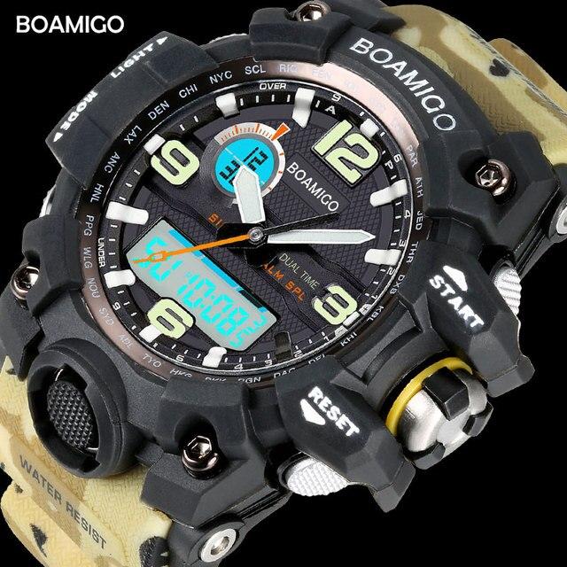 Мужские спортивные часы BOAMIGO бренд светодиодный цифровые часы военные кварцевые часы резиновый ремешок 50 м водонепроницаемые наручные часы для плавания F5100