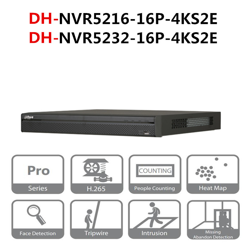 DH NVR POE NVR5216-16P-4KS2E NVR5232-16P-4KS2E 16CH 32CH With 16 PoE Ports 4K&H.265 Pro Network Video Recorder