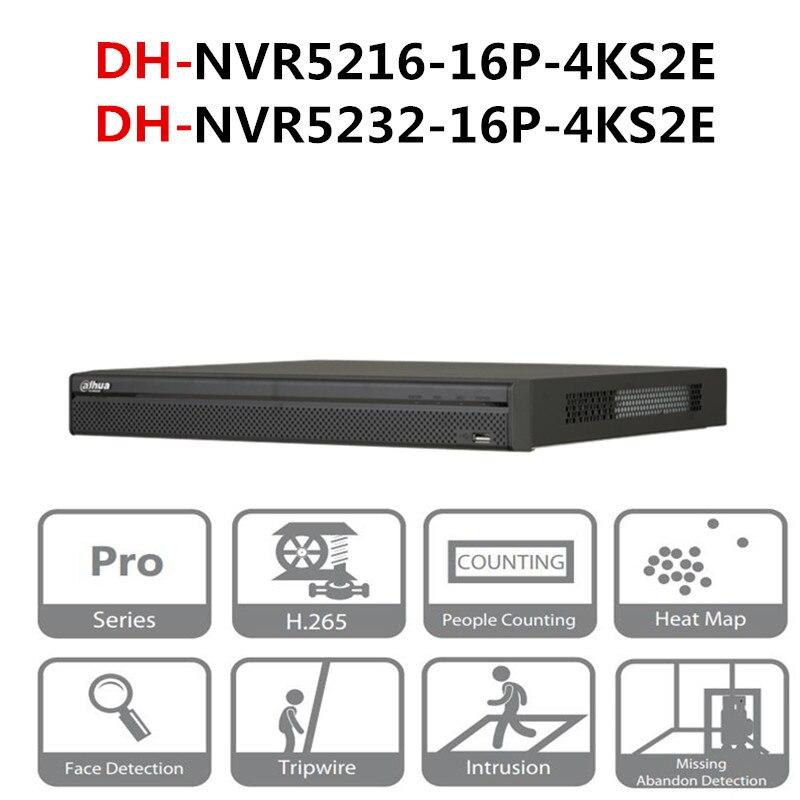 DH portas PoE NVR POE NVR5216-16P-4KS2E NVR5232-16P-4KS2E 16CH 32CH com 16 4 K & H.265 Pro Gravador de Vídeo em Rede