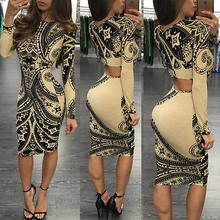 Sexy Women Autumn Winter Dress Long-Sleeved sleeve Plus Size Dresses Black White Stitching Retro Office Bodycon Dress(China)
