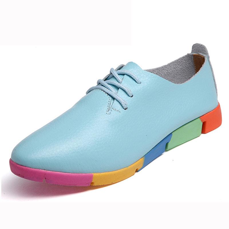 2019 new breathable genuine leather flats shoes woman sneakers tenis feminino nurse peas flats shoes plus size women shoes