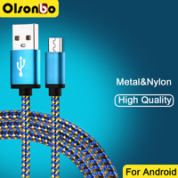 25cm 1M 2M 3M Micro Usb Cable Mobile Phone Cables Nylon Fast Data Charging For Samsung