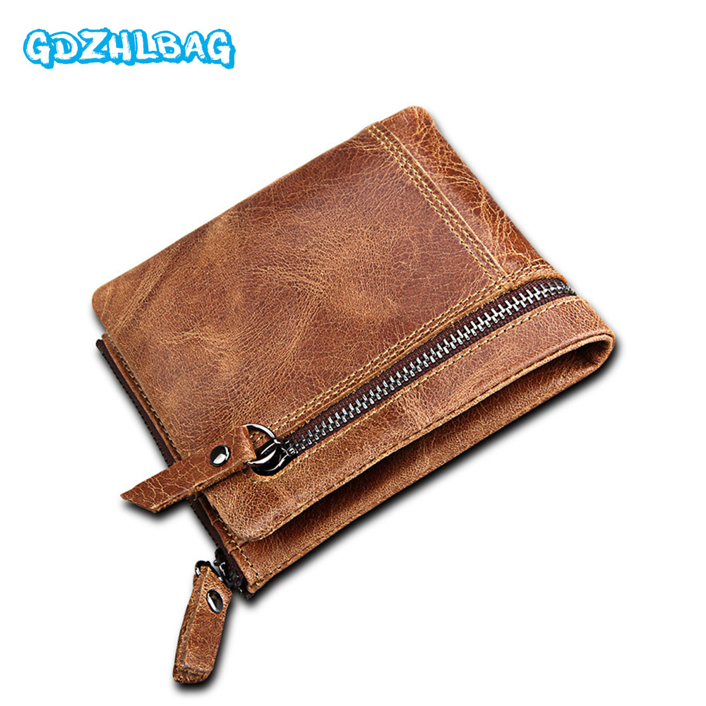 GDZHLBAG Genuine Leather Mens Large Capacity Multi-Card Bit Short Wallet Retro Purse Clutch Men RFID Anti-Scanning Bags B178