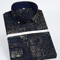 Men S Long Sleeve Flower Print Slim Fit Dress Shirts Non Iron 100 Cotton Fashion Male