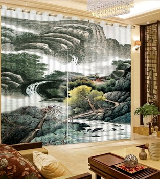 Curtain Fabrics Home Bedroom Decoration Custom Any Size 3D Curtain Ink Painting Mountain View Curtains For Bedroom