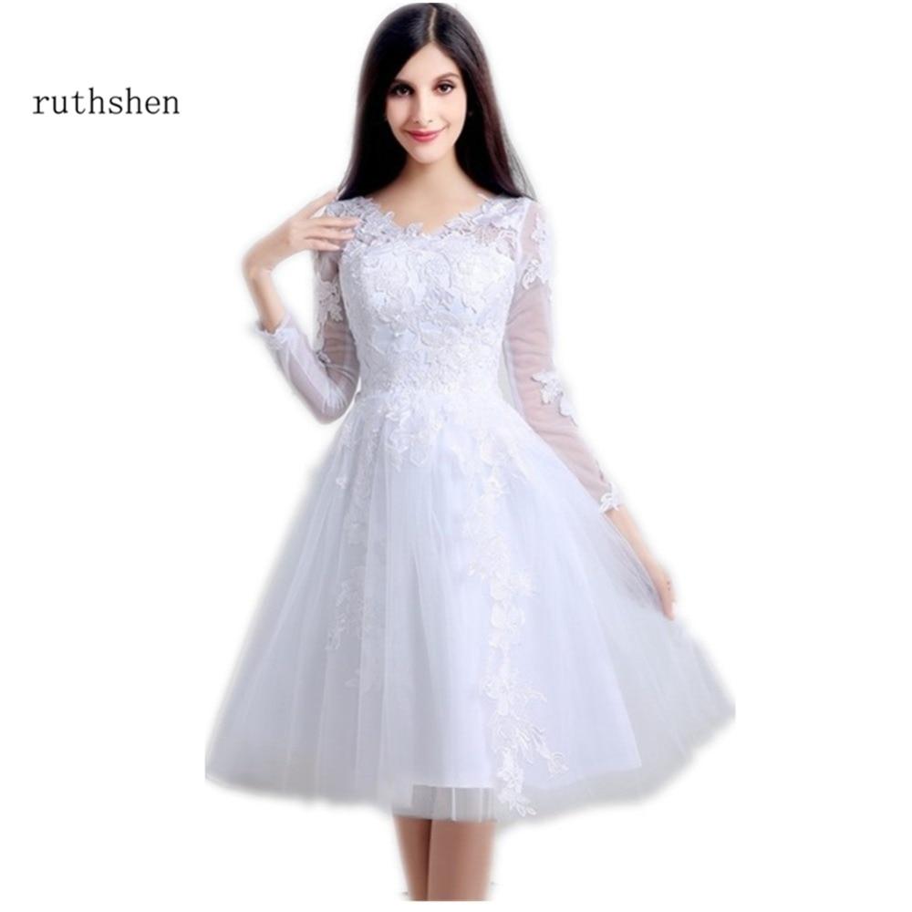 ruthshen Short Prom Dresses Cheap 2018 New Long Sleeves Sheer V Neck ...