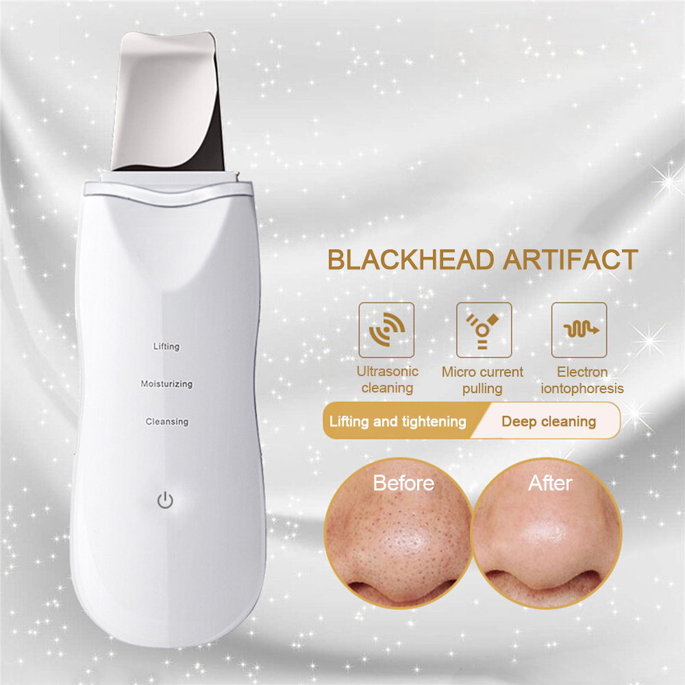 Ultrasonic Ion Deep Cleaning Skin Scrubber Peeling Shovel Facial Pore Cleaner Blackhead Remover Face Lifting USB Rechargeable