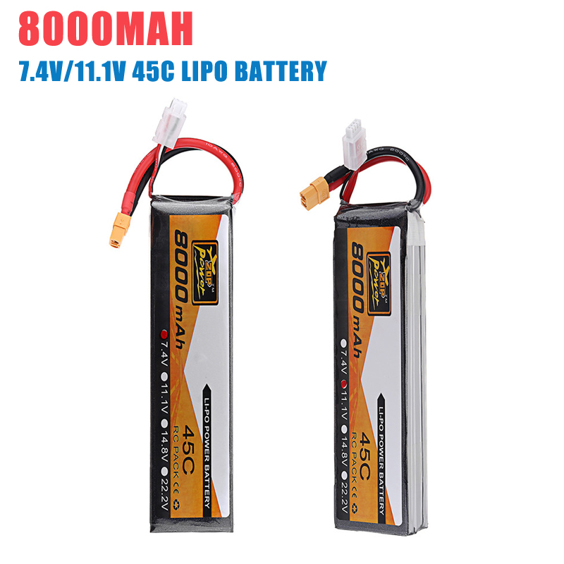 1/4PCS ZOP Power 7.4V 11.1V <font><b>8000mAh</b></font> 45C <font><b>3S</b></font> <font><b>Lipo</b></font> Battery for RC Drone FPV Quadcopter Spare DIY Accessories image
