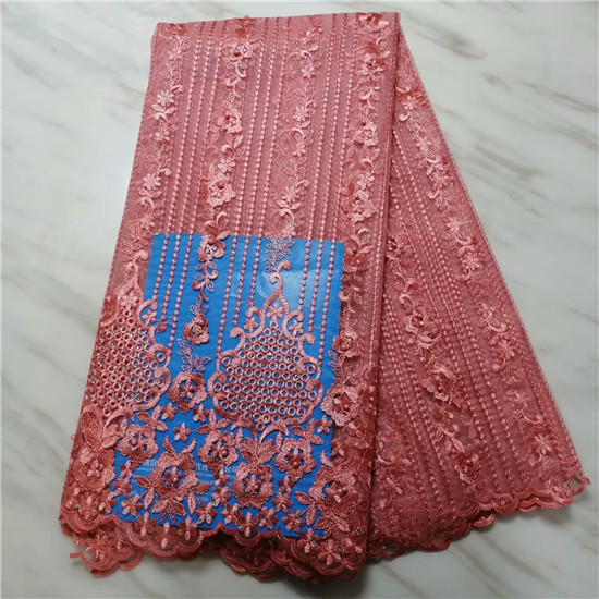 High Quality 2018 3D Applique Nigerian Lace Fabrics Tulle Beaded African Lace Fabric Guipure Embroidered French