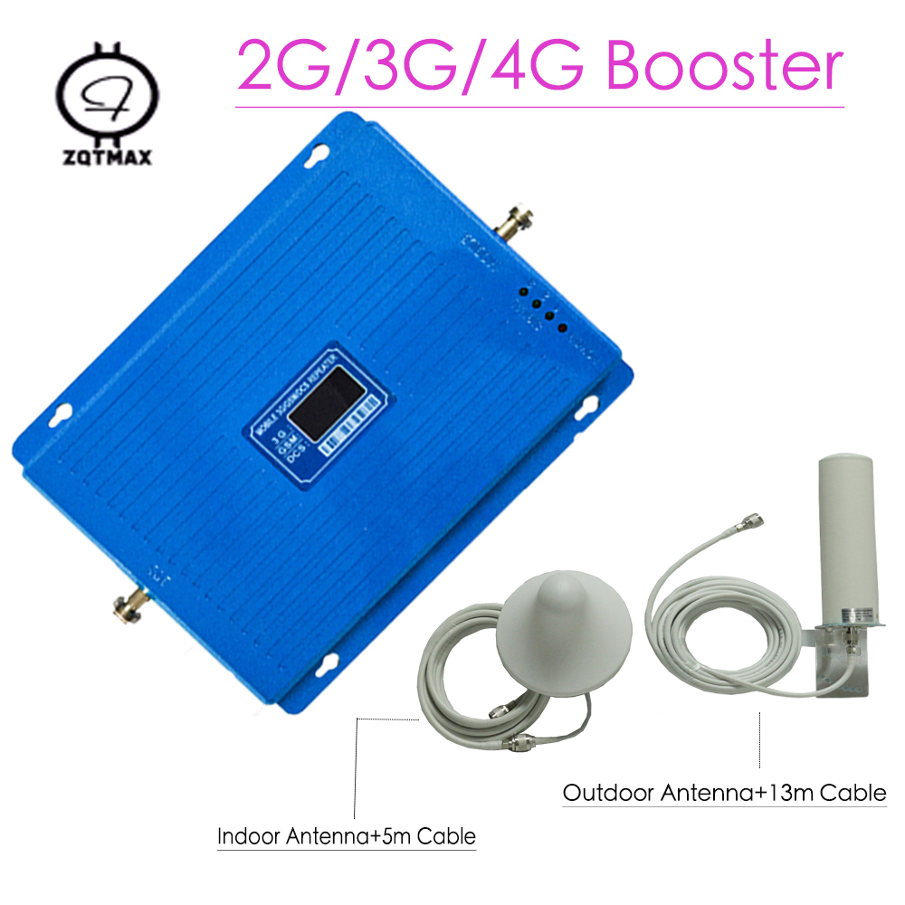 2G 3G 4G Cellular Signal Booster GSM 900 DCS LTE 1800 WCDMA 2100mhz Repeater 75dB Gain 4G LTE 1800 Amplifier Antenna Set