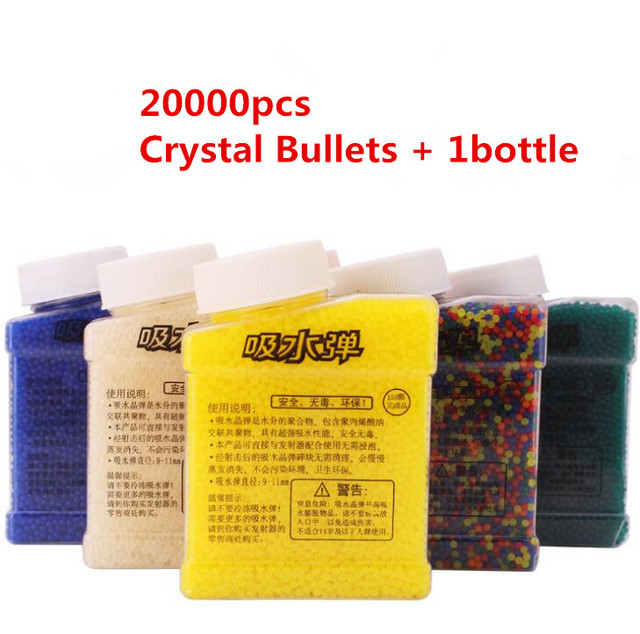 20000Pcs &1 Bottle Color Crystal Paintball Bullet Water Soft Bullets Gun Toy Gun Accessories Crystal Mud Soil Orbeez Ball