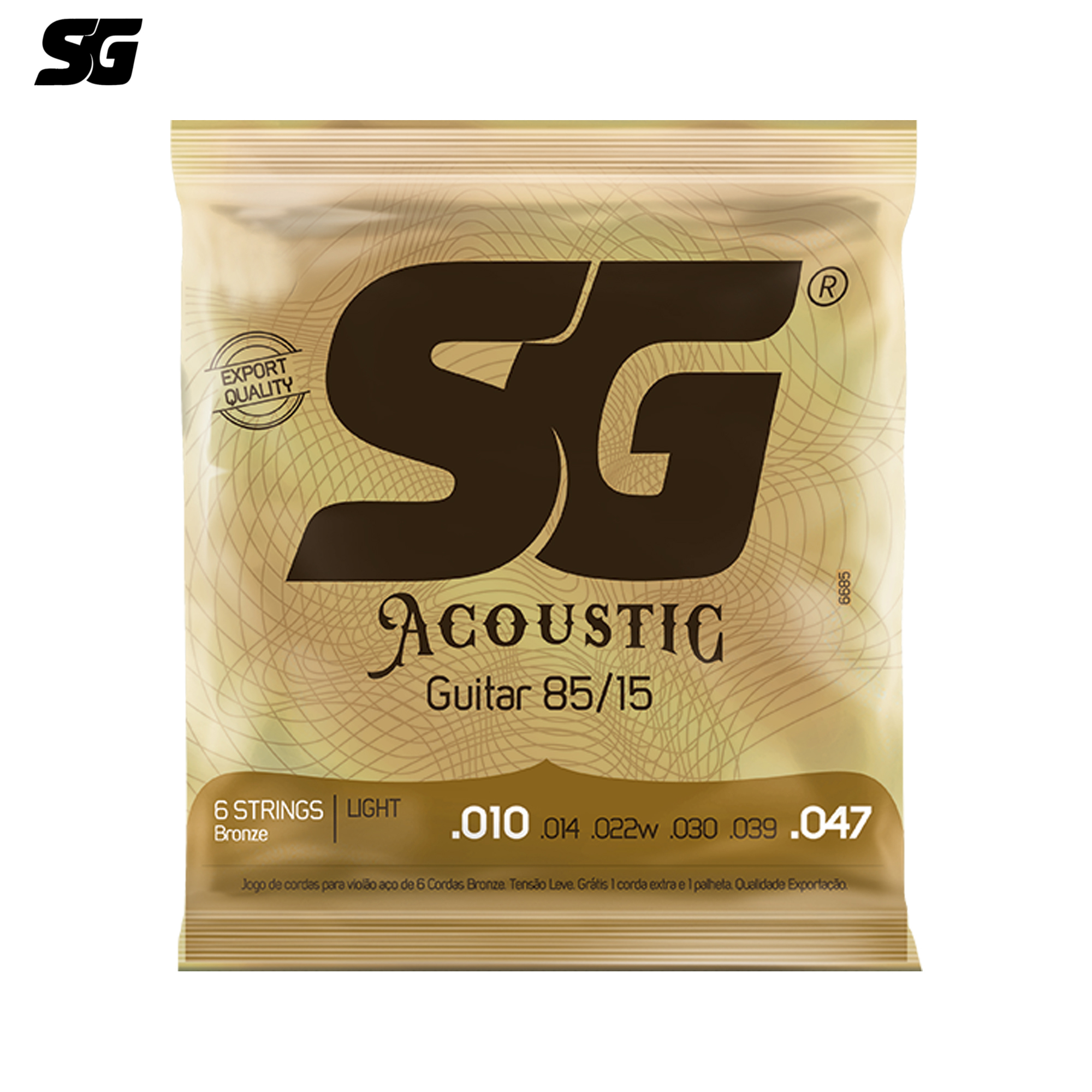 SG Brazil Acoustic Guitar Strings 010-047 inch 85/15 Brass Plated with 1 pc Free Extra E String and Pick 6685EX